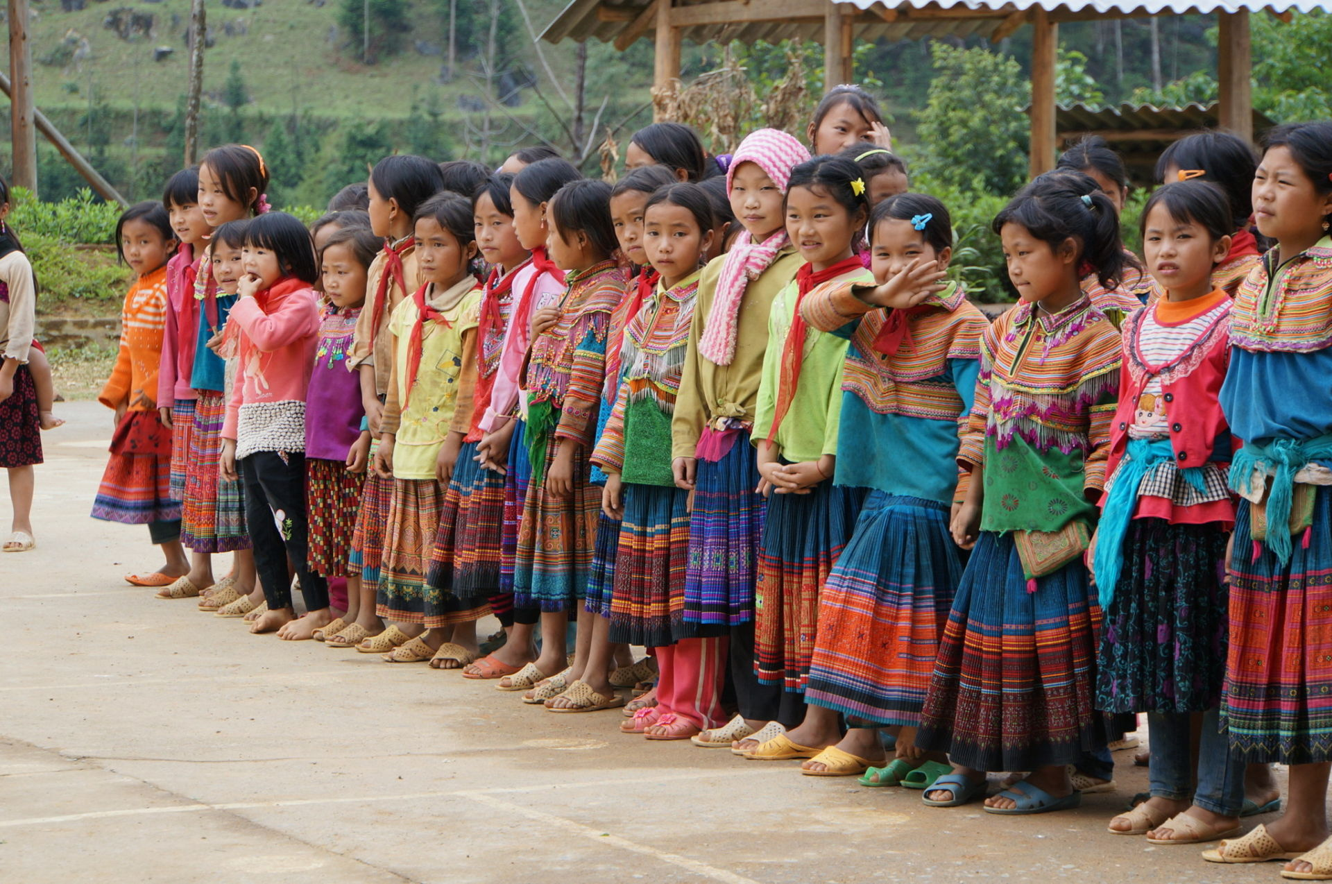 Colorful handmade clothing. Hmong style. Si Ma Cai, Northern Vietnam.