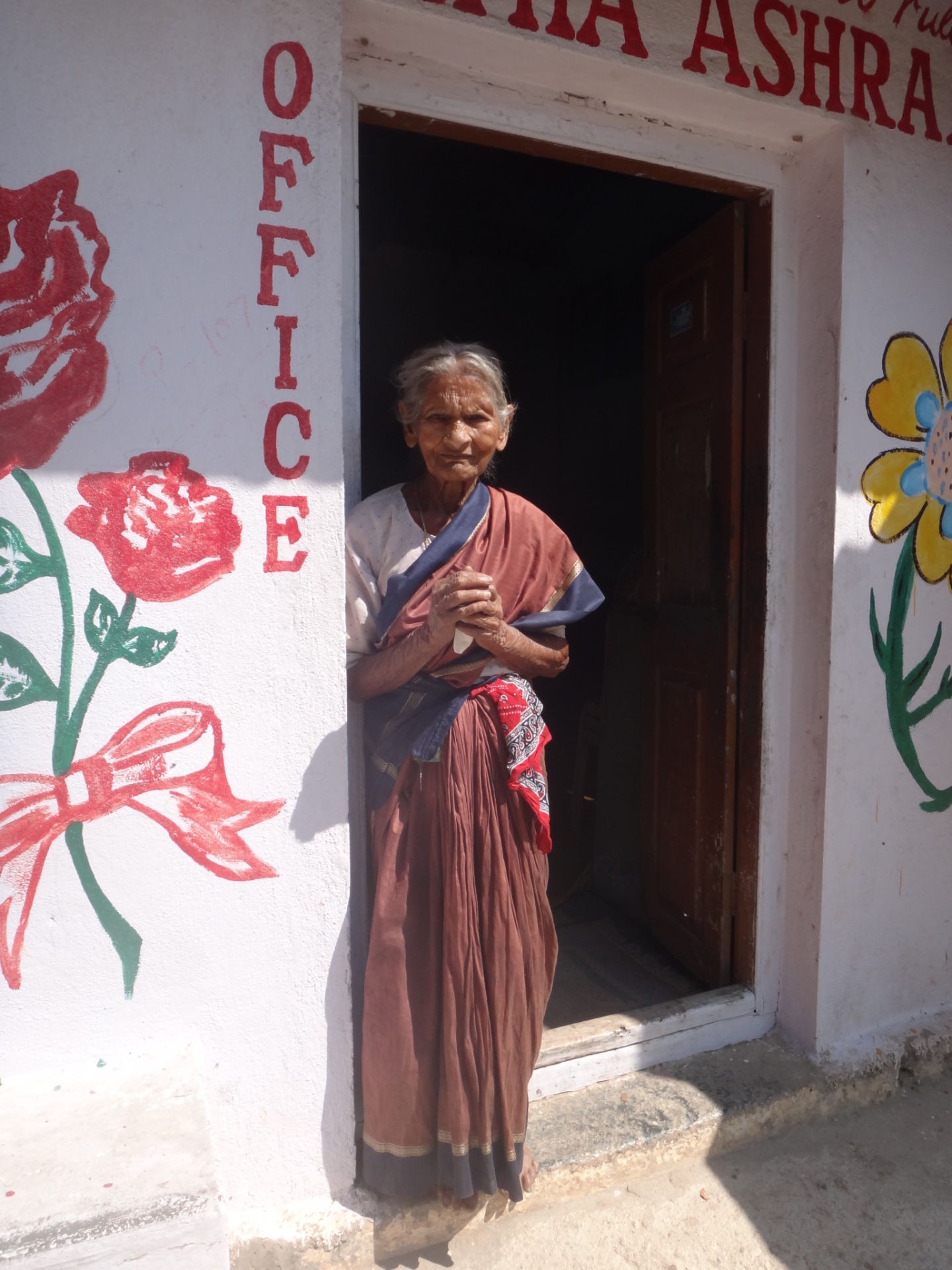 This old woman from an hospice for old folks in Bangalore, India showed great gratitude for the food we brought them.