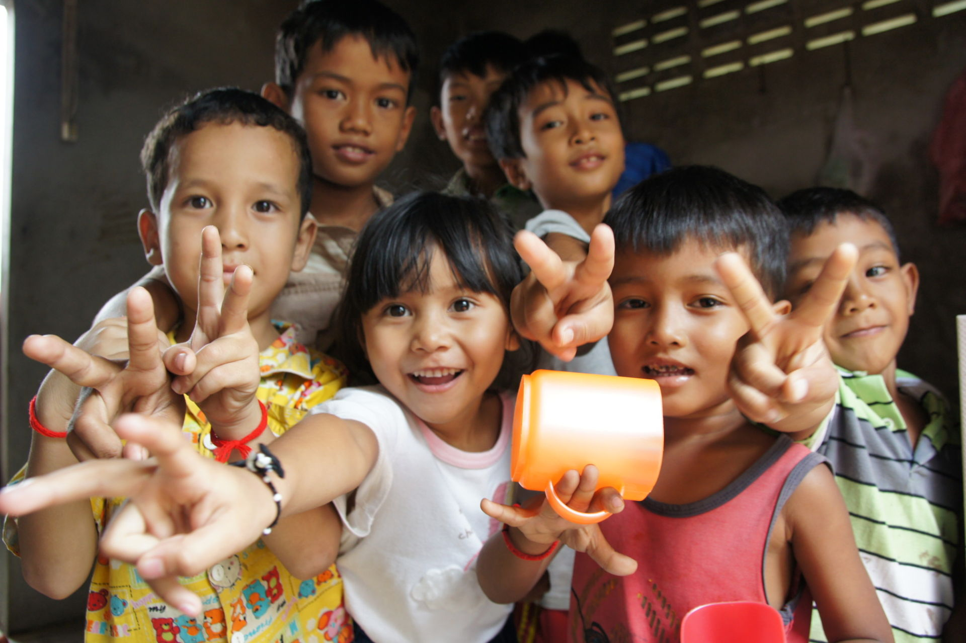 Beautiful smiling children that love the camera. Siem Reap, Cambodia.