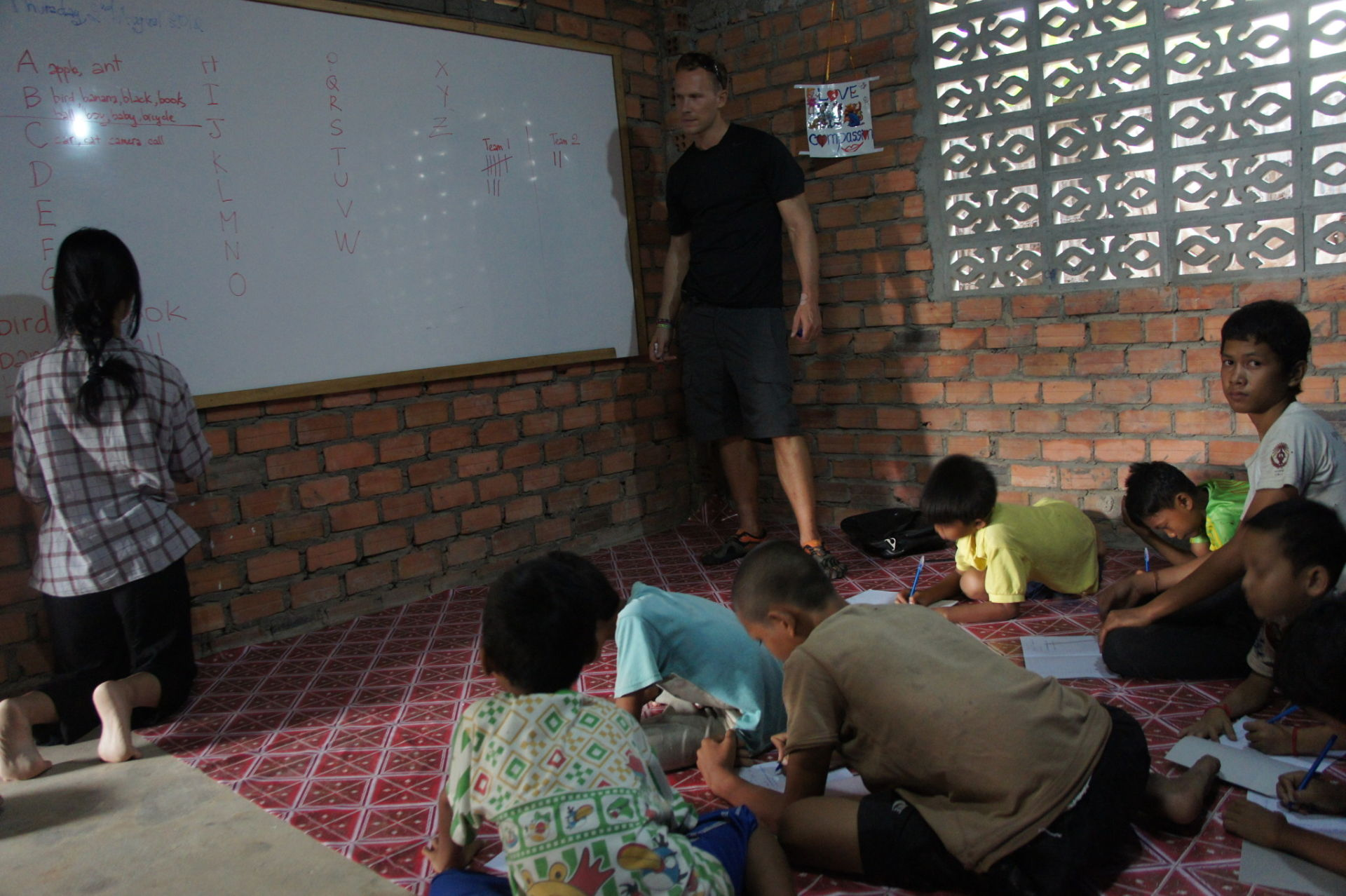 It's not hard to just stop and spend a few hours teaching English, and they love to learn it.