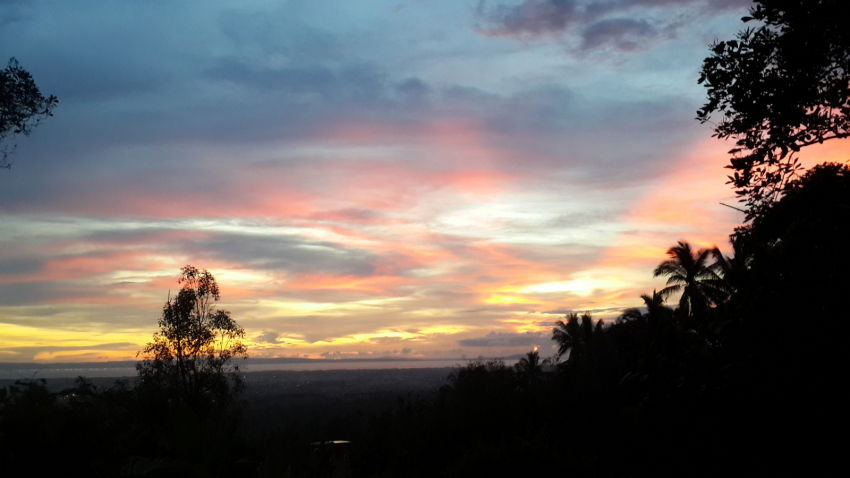 A beautiful view of the sunset from the mountains in Negara