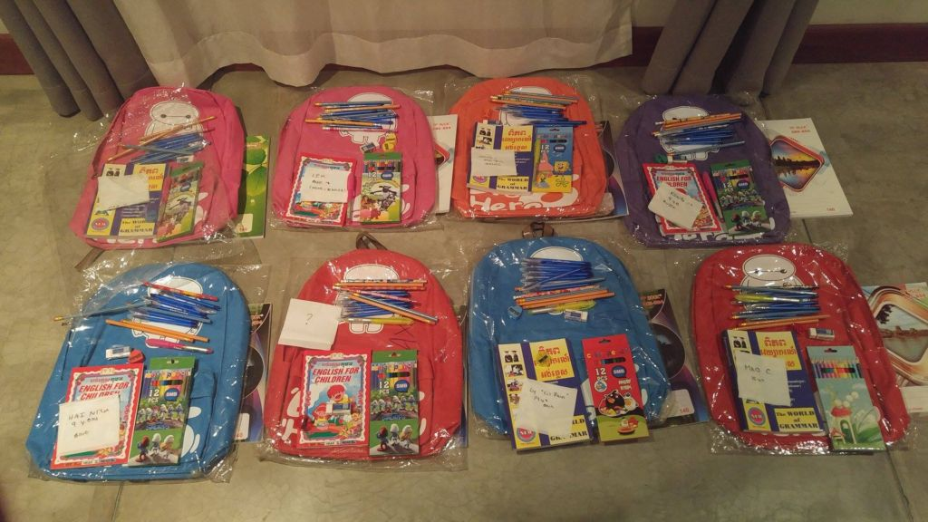 Backpacks for the children at Florida International School